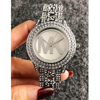 MICHAEL KORS MK Trending Woman Men Stylish Diamond Quartz Movement Wristwatch Watch Silvery I11963-1