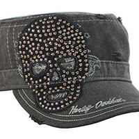 Harley-Davidson Women's Painter's Cap, Studded Star Skull, Charcoal PC10730