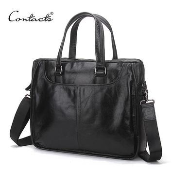 CONTACT'S Genuine Leather Men Handbags Fashion Dark Brown Totes Solid High Quality Brand Design Crossbody Bags Male Briefcase