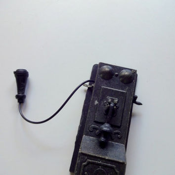 Vintage Die Cast Metal Telephone Pencil Sharpener 1970s