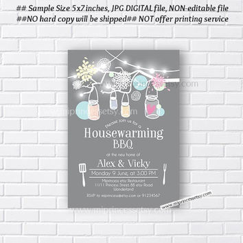 housewarming invitation, bbq invitation, New house Mason Jar  BBQ party or housewarming party,  We have moved Invitation  - card 616