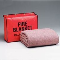 Fire retardant blanket- 62 in. x80 in. - (70% wool- 30% man-made fibers)- and 13.5 in. x17.5 in. x4 in. vinyl