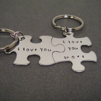 Valentines Day Gift, I love you I love you more Keychains, Anniversary Gift, Couples Keychains