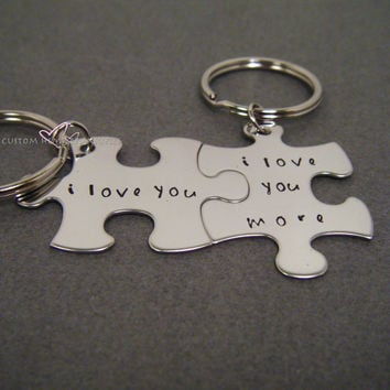 I love you I love you more Keychains, Anniversary Gift, Couples Keychains