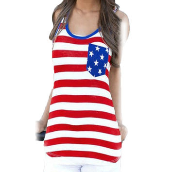 Top Femme T-shirt US Flag Pocket T Shirt Women Tops Tees Sleeveless Tee Shirt  Casual Womens Clothing Camisetas Mujer GS