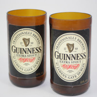 Guinness Extra Stout Drinking Glasses, Recycled Beer Bottle, 8 oz. Drinking Glass, ONE glass
