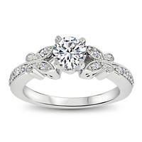 Forever One Butterfly Moissanite Engagement Ring - Butterfly Kisses