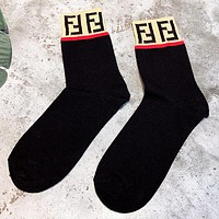 Fendi Fashion New Letter Print Women Sock Black