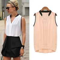 2015 Summer Women Casual OL Chiffon Blouses Solid Sleeveless Shirts Women Tops Cheap Clothes