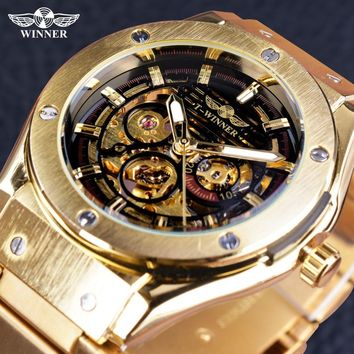 Winner Steampunk Transparent Open Work Creative Luxury Design Golden Steel Mens Watch Top Brand Skeleton Automatic Wristwatch