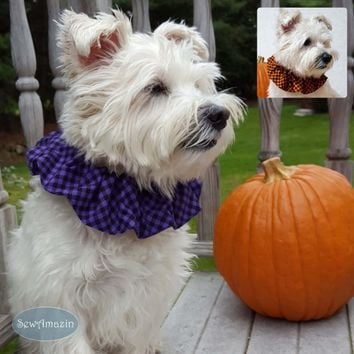 Halloween Checkered Plaid Dog Scrunchie Neck Ruffle, Purple or Orange