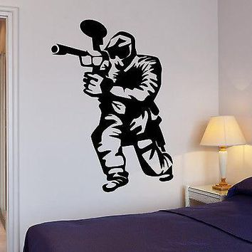 Wall Decal Paintball Gamer Boys Room Entertainment Vinyl Stickers Art Unique Gift (ig2557)