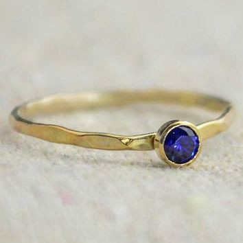Dainty Gold Filled Sapphire Ring