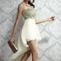 Beige Strapless Sequined Splice High-Low Chiffon Dress