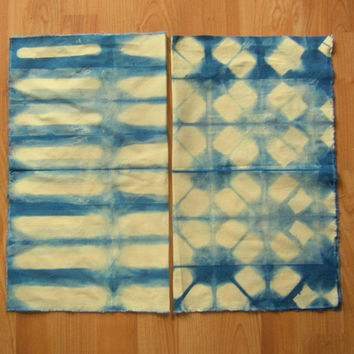 INDIGO Blue Shibori LINEN hand dyed art fabric home decor sewing quilting crafts from MyGypsyCottage on Etsy