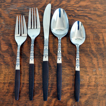 Mid Century Interpur Japan Flatware, Service for Eight plus Extras, New in Box, Stainless with Wood Composite Handle, Danish Modern