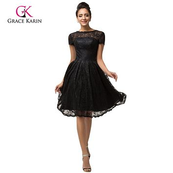 Lace Prom Dresses Grace Karin cheap 2017 Women Black formal Party masquerade Evening gowns Short Sleeve prom Dresses 7559