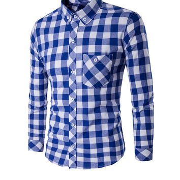 Casual Classic Skinny Check Men Shirt With Button Down Collar
