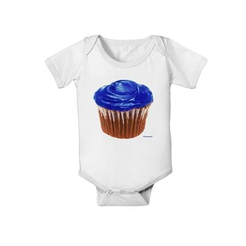 Giant Bright Blue Cupcake Baby Romper Bodysuit by TooLoud