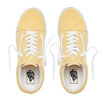 Vans High Quality Classic Trending Women Men Personality Canvas Old Skool Flats Sneakers Sport Shoes Yellow I
