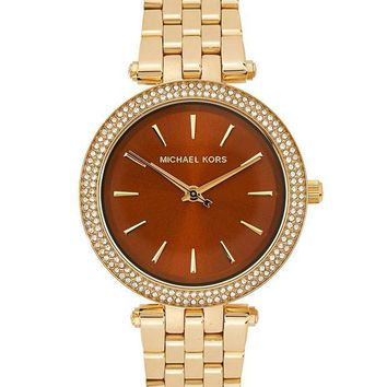 CREYDC0 Michael Kors Women's Mini Darci Gold-Tone Brown Dial Watch MK3408