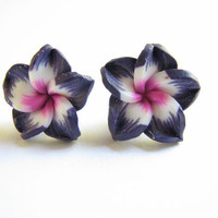 Tropical  Flower Earrings, Purple and Pink Plumeria Jewelry Hawaiian Flower Stud Earring