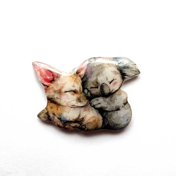 Feneck and koala, Christmas gift, Animal brooch, Free shipping, gifts under 25, Black Friday