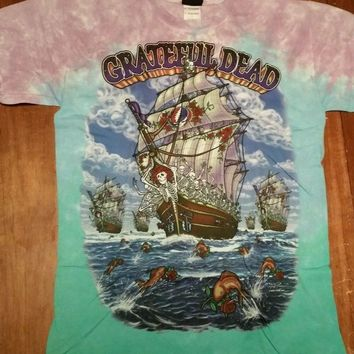 New GRATEFUL DEAD Ship OF Fools TIE DYE T-Shirt DOUBLE SIDED LICENSED ROCK SHIRT