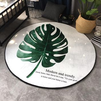 Autumn Fall welcome door mat doormat Nordic minimalist banana leaf mats round coffee table rug creative carpet velvet mats bedroom carpet livingroom  AT_76_7