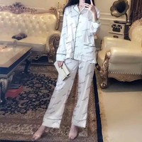 """Balenciaga"" Women Fashion Logo Letter Print Long Sleeve Cardigan Trousers Sleepwear Set Two-Piece"