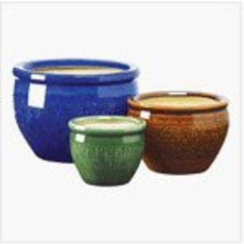 3 Piece Ceramic Planter Set in Azure Topaz & Peridot