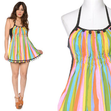 60s Apron Rainbow Striped POMPOMS Empire Waist Craft Smock 1960s Retro Kitsch Tunic / OS One Size Fits Most