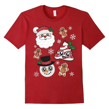 Cute Christmas Cookie Santa Snowman Candy Poop Emoji Shirt