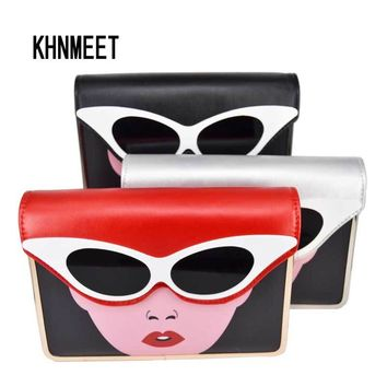 Fashion Glasses Pu Clutch Bag 3 color Red Silver Black Evening Bag Chain Lovely Wristlets Women Party Purse Ladies shoulder bags