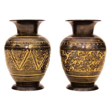 Pre-owned Brass Etched Vases -  A Pair
