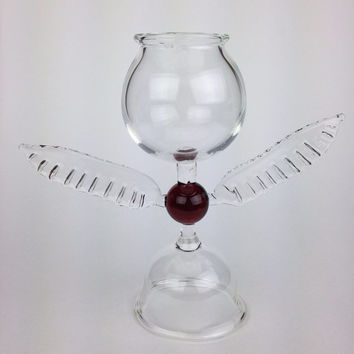Handblown glass snitch goblet