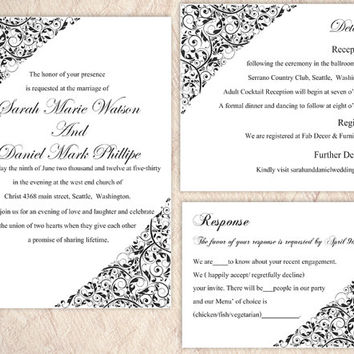DIY Wedding Invitation Template Set Editable Word File Instant Download Printable Invitation Black Wedding Invitation Elegant Invitation