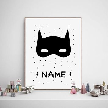 Batman Boys Bedroom Print Nursery Wall Art Decor , Superhero Poster Personalised Custom Name Canvas Painting Kids Boy Room Decor