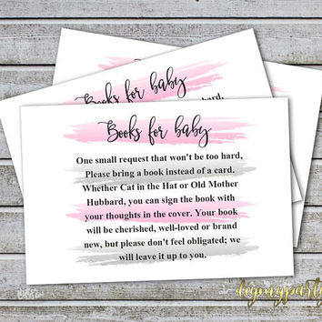 Baby Shower Bring a Book Instead of a Card Book Request Baby Library Printable Baby Shower Invitation Insert Card (50-1Bt) Instant Download