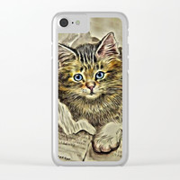 VINTAGE KITTEN DRAWING PRINT Clear iPhone Case by Digital Effects