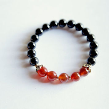 Beautiful Carnelian & Black Onyx Bracelet w/ Vermeil Accents ~ Grounding and Creativity