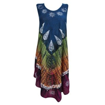 Mogul Summer Sleeveless Comfy Dresses Tie Dye Knee-Long Rayon Tank Dress - Walmart.com