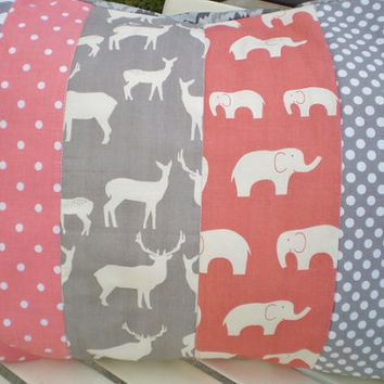Throw pillow cover,Nursery pillow cover,woodland rustic pillow,boy or girl room throw,deer,elephant,chevron,dots,grey,coral,12 by 16inches