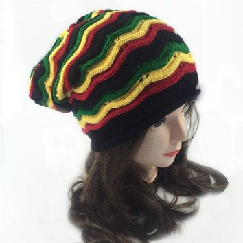 Fashion rainbow hats 2017 Winter Hip Hop Bob Marley Jamaican Rasta Reggae Multi-colour Striped Beanie Hats For Mens Women