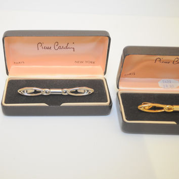 1950's TWO PACK PIERRE CARDIN COLLAR BARS GOLD + SILVER TIE JEWELERY