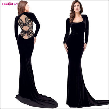 FeelinGirl Women Black Elegant Long Maxi Dress Sexy Lace Backless Long Sleeve Party Evening Mermaid Dresses = 1697061892