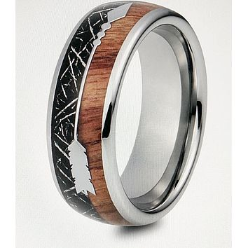 Mens Meteorite Hawaiian Koa Wood Silver Tungsten Arrow Ring