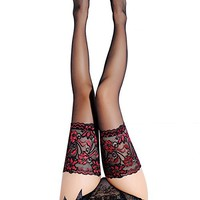 V&J Women Sexy Silk Stockings Thigh High (#078 Red)