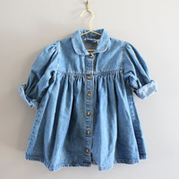 Toddler Denim Dress Button Down Pleated Peter Pan Collar Vintage 80s Size 2 - 3 Years Old