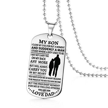 To My Son Become A Man I Love You Dad Daddy Father Dog Tag Military Air Force Navy Coast Guard Necklace Ball Chain Gift for Best Son Birthday Graduation Stainless Steel